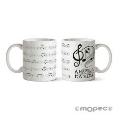 Taza A música é a banda sonora  da vida en caja regalo
