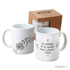 Taza cerámica música en el aire CAT con caja regalo