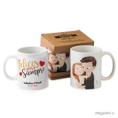Taza cerámica novios Pop &Fun caricia con caja regalo