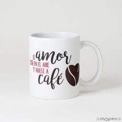 Taza cerámica El Amor,,Huele a Café en caja regalo