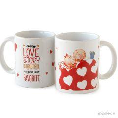 Pit&Pita ceramic mug LOVE STORY with gift box Ø 8x9,5cm