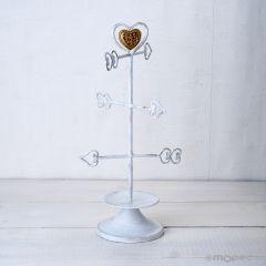 Joyero de metal flechas corazón con caja,31cm.