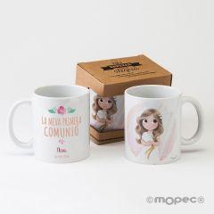Taza cerámica CAT niña Comunión en caja regalo
