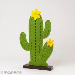 Cactus fieltro base madera 20x33cm,