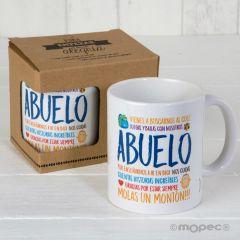 Taza cerámica Abuelo Molas en caja regalo, disponible en varios idiomas