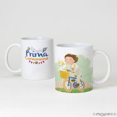 Tazza in ceramica bimbo in bici e scatola regalo