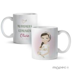 Taza cerámica Comunión niña romántica en caja regalo
