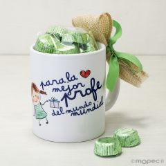Taza cerámica El / La Mejor profe en caja regalo 6 bombones