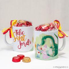 Tazza in ceramica Sant Jordi in confezione regalo + 6 ciocc.