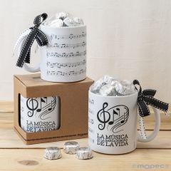 Taza cerámica Partitura musical en caja regalo 6bombones