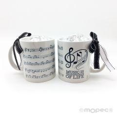 Tasse en céramique soundtrack dans boîte-cadeau + 6 choc.