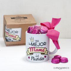 Taza cerámica mejor Papá / Mamá  en caja regalo 6 bombones