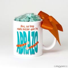Taza cerámica Abu no hay nada,,Abrazo 6bombones caja regalo