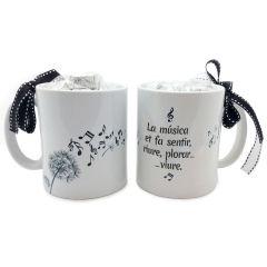 Tasse en céramique musique avec boîte-cadeau + 6 choc.