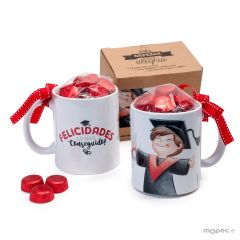 Ceramic mug graduation BOY in gift box + 6 chocolates