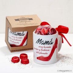 Taza cerámica Mamá tacones en caja regalo 6 bombones