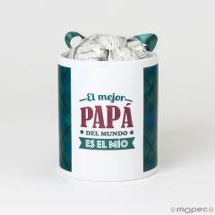 Taza cerámica El Mejor Papá del mundo es el Mío en caja regalo 6 bombones