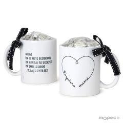 Taza cerámica Te Quiero Mamá corazón 6 bombones caja regalo