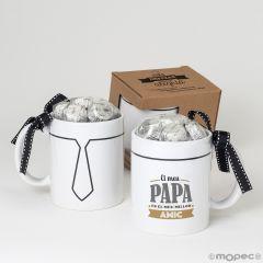 Taza cerámica El meu papa és el meu millor amic  6bombones caja regalo