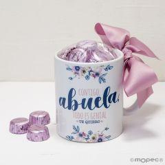 Taza cerámica Contigo Abuela o abuelo  en caja regalo 6 bombones