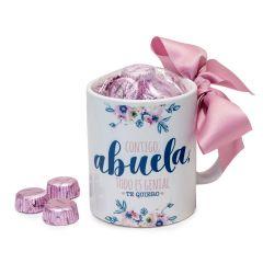 Taza cerámica Contigo Abuela en caja regalo 6 bombones, disponible en varios idiomas