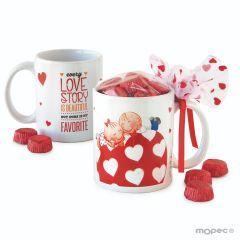 Pit&Pita ceramic mug LOVE STORY with gift box 6 chocolates