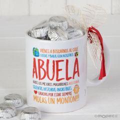 Taza cerámica para abuelo o abuela en caja regalo 6 bombones