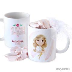 Taza cerámica niña Comunión en caja regalo con 7 caramelos