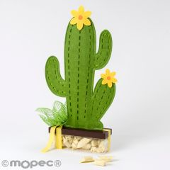 Cactus de fieltro con caja 30caramelos