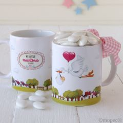 Taza cerámica Pit&Pita cigueña niña caja regalo 14peladillas