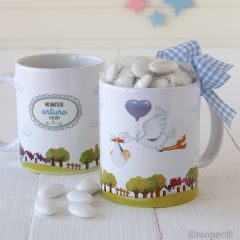 Taza cerámica Pit&Pita cigueña niño caja regalo 14peladillas