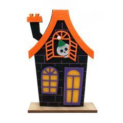 Casa de fieltro halloween con base madera 12x18cm.