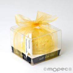 Candela aromatica con nastro profumo limone 6x6cm