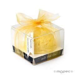 Bougie aromatique avec ruban parfum de citron 6X6cm.