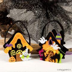 Panier feutre maison Halloween 21cm(manche) assort