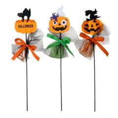 Pic fieltro calabazas de Halloween 3 caramelos,stdo. min.3