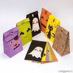 Halloween paper bag with label 12x22x8cm 6mod.asstd.