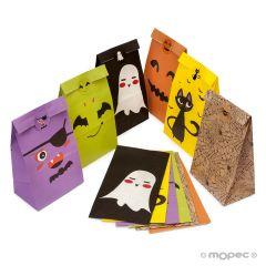 Bolsa papel Halloween+etiqueta 12x22x8cm 6stdos.,min.12