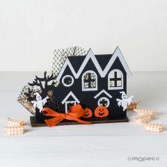 Château figure décorative Halloween 17x13,5x5cm.9 bonbons