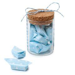 Tarro cristal y 5caramelos azules, Ø4,5x6,5cm. min.12