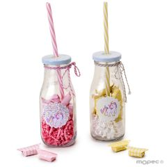 Bottle with straw and adh.unicorn, 2assort. 11 candies