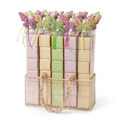 Espositore 36 scatole 6cioccolatini farfalla metallica