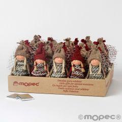 Expositor de 24 figuras decorativas navideñas de niñas con gorrito y 1 chocolate