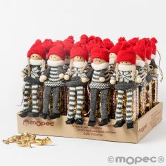 Expositor de 20 estuches con 25 caramelos y figuras decorativas de duendes de madera con gorro