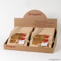 Présentoir 10 boîtes 10 chocolats coeurs avec carte