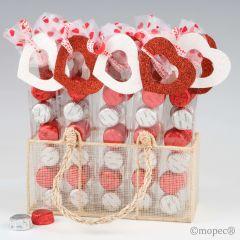 Prèsentoir 2 boîtes 6 chocolats coeur rouge/blanc S.Valentin