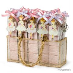 Espositore 26 scatole 4ciocc. portachiavi ballerine in legno