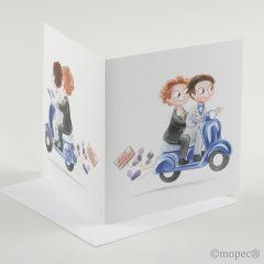 Participación Pop&Fan boys moto azul + sobre, min25