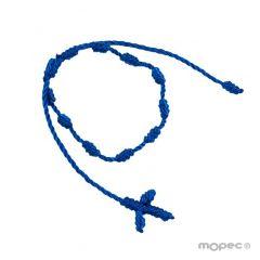 Pulsera-rosario con cruz macramé azul eléctrico