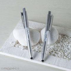 Bolígrafo plata CORAZONES con puntero táctil y LED interior